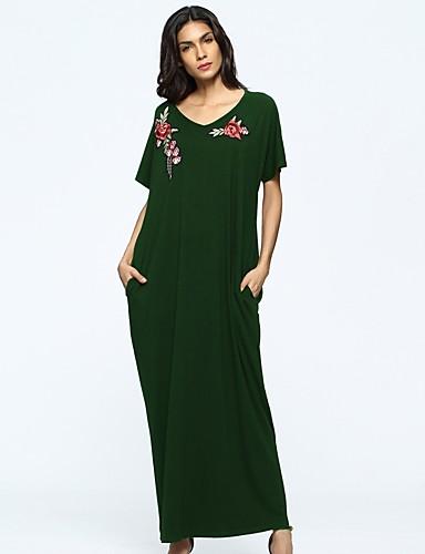Damen Tunika Kleid-Alltag Solide Blumen Rundhalsausschnitt Maxi Langärmelige Polyester Alle Jahreszeiten Mittlere Hüfthöhe Mikro-elastisch