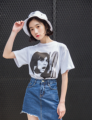 Damen Druck - Street Schick Baumwolle T-shirt