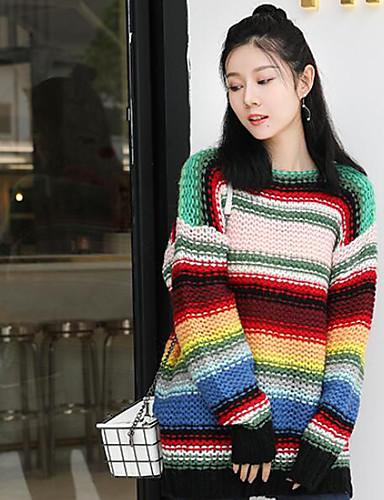 Damen Lang Pullover-Ausgehen Lässig/Alltäglich Einfarbig Rundhalsausschnitt Langarm Baumwolle Mittel Mikro-elastisch