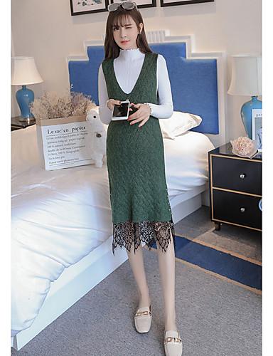 Damen Lose Kleid-Ausgehen Lässig/Alltäglich Solide V-Ausschnitt Knielang Langarm Baumwolle Polyester Herbst Winter Mittlere Hüfthöhe