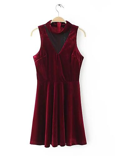 Damen Hülle Kleid-Ausgehen Lässig/Alltäglich Solide Rundhalsausschnitt Übers Knie Ärmellos Baumwolle Andere Mittlere Hüfthöhe