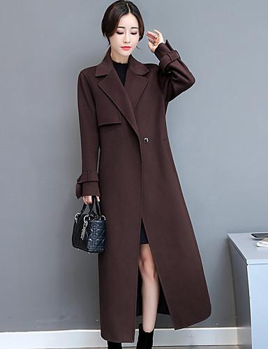 Damen Solide Einfach Anspruchsvoll Lässig/Alltäglich Mantel Herbst Winter Langarm Lang Wolle