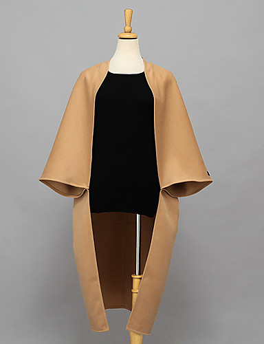 Damen Solide Anspruchsvoll Lässig/Alltäglich Mantel Herbst Winter Langarm Lang Polyester