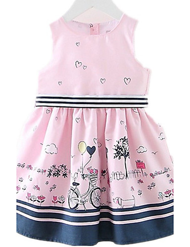 e22f09451945c Kids Toddler Girls' Cartoon Daily Holiday Going out Print Sleeveless Cotton  Dress Blushing Pink