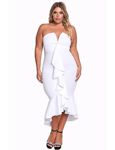 Damen Party Klub Sexy Bodycon Asymmetrisch Kleid Solide V-Ausschnitt Ärmellos Hohe Taillenlinie Herbst