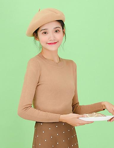 Damen Standard Pullover-Lässig/Alltäglich Solide Ständer Langarm Acryl Mittel Mikro-elastisch