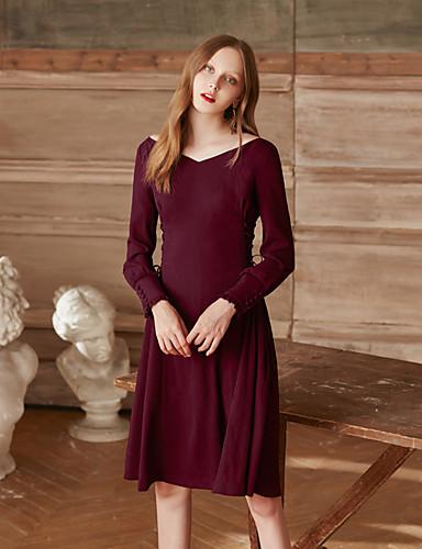 Damen Alltag Ausgehen Retro Freizeit A-Linie Knielang Kleid Solide V-Ausschnitt Langarm Hohe Taillenlinie
