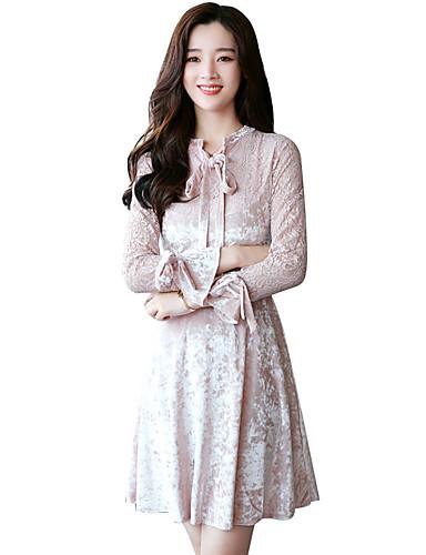 Damen A-Linie Kleid-Party Ausgehen Solide Rundhalsausschnitt Übers Knie Langarm Polyester Hohe Taillenlinie Mikro-elastisch Mittel