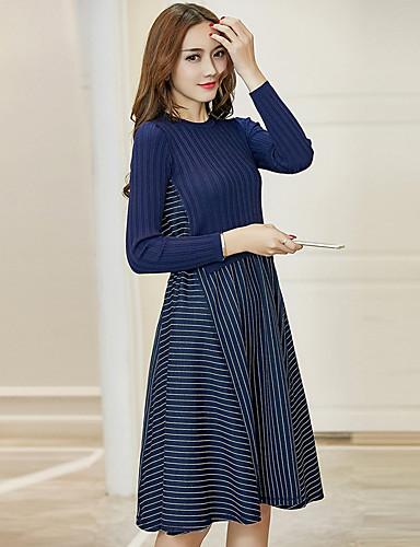 Damen Tunika Kleid-Ausgehen Solide Patchwork Rundhalsausschnitt Knielang Langarm Polyester Mittlere Hüfthöhe Mikro-elastisch Mittel