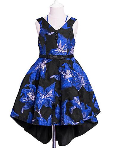 Sukienka Bawełna Poliester Dziewczyny Codzienny Wyjściowe Jendolity kolor Kwiaty Żakard Wiosna, jesień, zima, lato Na każdy sezon Bez