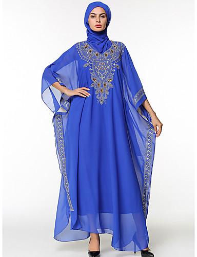 Damen Swing Kleid-Lässig/Alltäglich Solide Rundhalsausschnitt Maxi Langärmelige Polyester Alle Jahreszeiten Mittlere Hüfthöhe