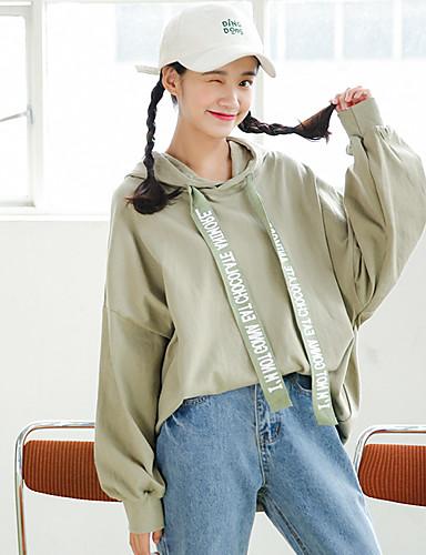 Damen Kapuzenshirt Lässig/Alltäglich Solide Buchstabe Baumwolle