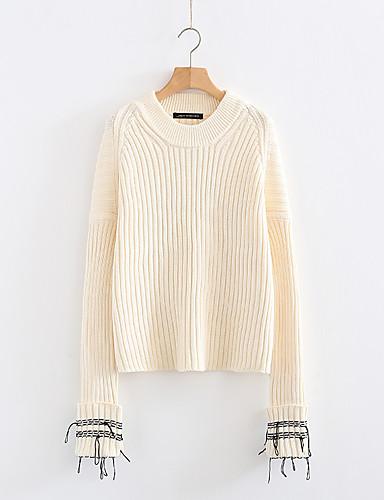 Damen Standard Pullover-Ausgehen Lässig/Alltäglich Solide Rundhalsausschnitt Langarm Kaninchen-Pelz Baumwolle Andere Dünn Mittel