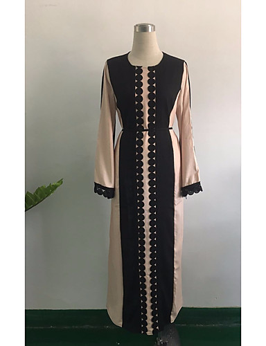 Damen Abaya Kleid Einfarbig Maxi Hohe Taillenlinie