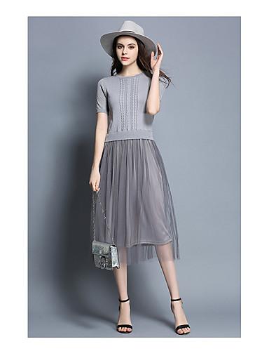 Damen Hülle Spitze Kleid-Ausgehen Solide Rundhalsausschnitt Knielang Kurzarm Wolle Polyester Hohe Taillenlinie Mikro-elastisch Mittel