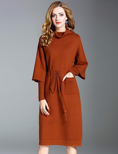 Damen Strickware Kleid-Ausgehen Lässig/Alltäglich Street Schick Solide Rollkragen Knielang Langarm Kaninchen-Pelz Polyester Nylon