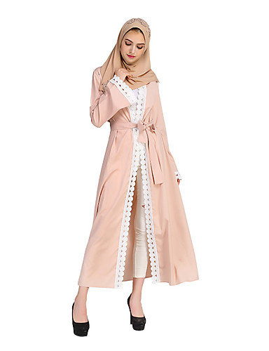 Damen Boho Samt Kaftan Abaya Kleid - Spitze, Solide Maxi V-Ausschnitt Hohe Hüfthöhe