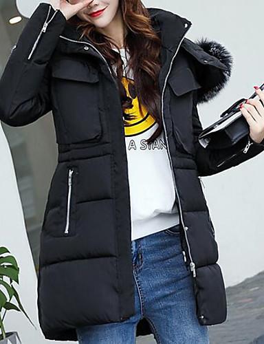 Damen Gefüttert Mantel,Lang Einfach Niedlich Sexy Ausgehen Lässig/Alltäglich Arbeit Solide-Baumwolle Acryl Polyester Polyester Langarm
