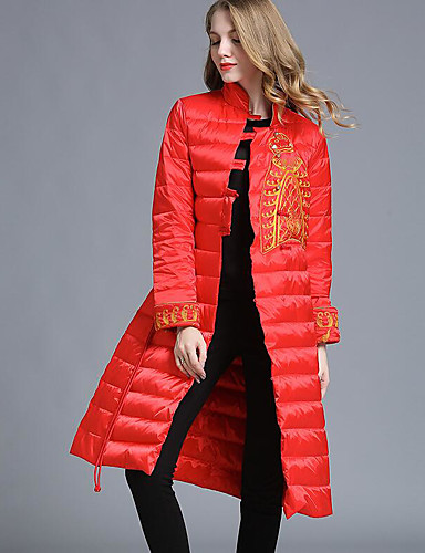 Damen Daunenjacke Mantel,Lang Einfach Andere Solide-Baumwolle Langarm