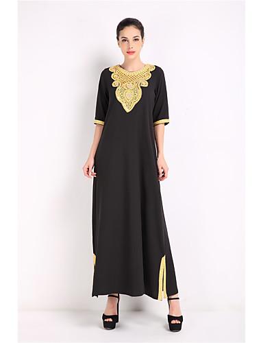 Damen Abaya Kleid Solide Maxi