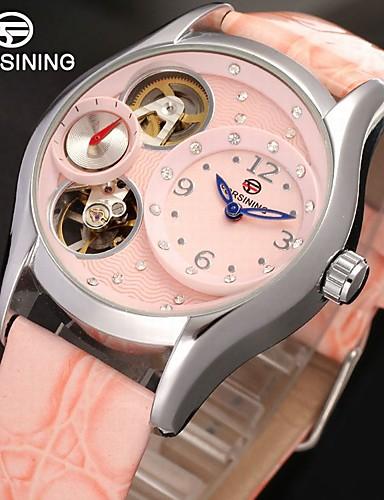 FORSINING Damskie Zegarek na nadgarstek Hollow Grawerowanie / Kompas Skóra Pasmo Vintage / Na co dzień / Modny Różowy / Nakręcanie automatyczne