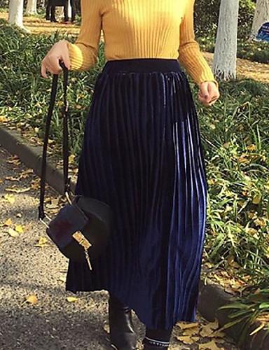 Damen Ausgehen Midi Röcke einfarbig Frühling Winter