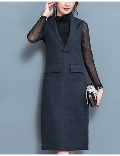 Damen Solide Einfach Lässig/Alltäglich Set Kleid Anzüge,Rundhalsausschnitt Winter Langarm Baumwolle