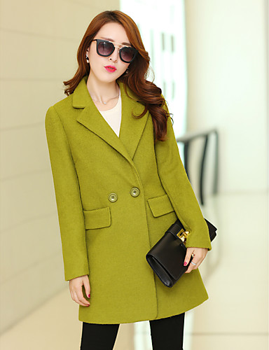 Damen Solide Einfach Lässig/Alltäglich Mantel,V-Ausschnitt Herbst Winter Langarm Lang Polyester
