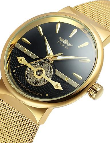 WINNER Pánské Náramkové hodinky Automatické natahování Nerez Černá    Stříbro   Zlatá 30 m S dutým b84acc901d