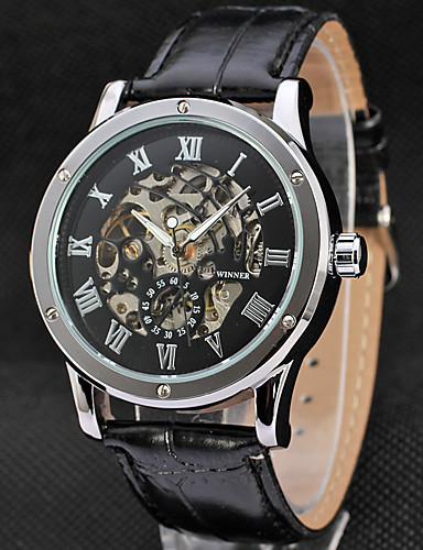 WINNER Men's Wrist Watch / Mechanical Watch Hollow Engraving Leather Band Luxury / Vintage Black / Stainless Steel / Automatic self-winding 6387084 2019 – ...