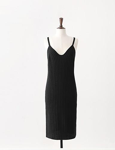 Damen Tunika Kleid-Ausgehen Solide Gurt Übers Knie Ärmellos Wolle Mittlere Hüfthöhe Mikro-elastisch Mittel