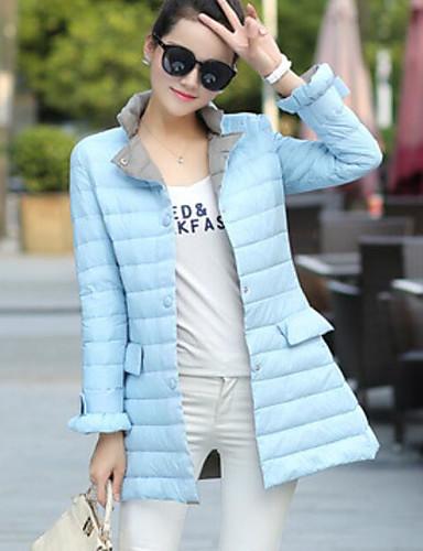 Damen Daunenjacke Mantel Einfach Lässig/Alltäglich Solide-Baumwolle Acryl Langarm