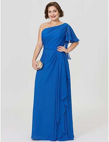 Sheath / Column One Shoulder Floor Length Chiffon Mother of the Bride Dress with Pleats by LAN TING BRIDE®
