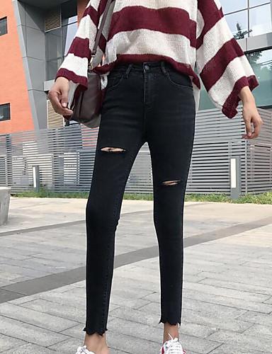 Damen Freizeit Mikro-elastisch Eng Hose Solide