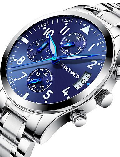 5903bda75b7 Homens Relógio Esportivo Relógio Militar Relógio de Pulso Suíço Quartzo  Prata Calendário Cronógrafo Noctilucente Analógico Luxo