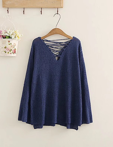 Damen Standard Pullover-Ausgehen Lässig/Alltäglich Solide V-Ausschnitt Langarm Wolle Baumwolle Andere Mittel Dick Mikro-elastisch