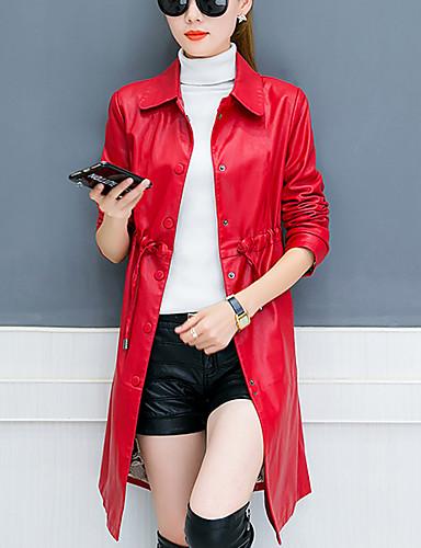 Damen Solide Einfach Freizeit Street Schick Alltag Übergröße Trench Coat Winter Herbst Lang PU Baumwolle