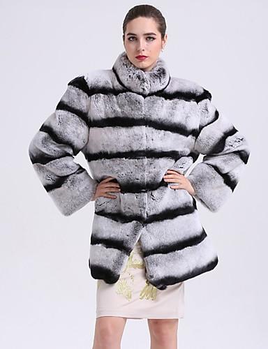 Damen Gestreift Einfach Freizeit Ausgehen Pelzmantel Winter Langarm Standard Kunst-Pelz