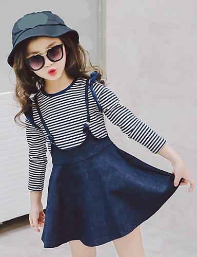Komplet odzieży Bawełna Dla dziewczynek Prążki Wiosna Jesień Długi rękaw Urocza Niebieski
