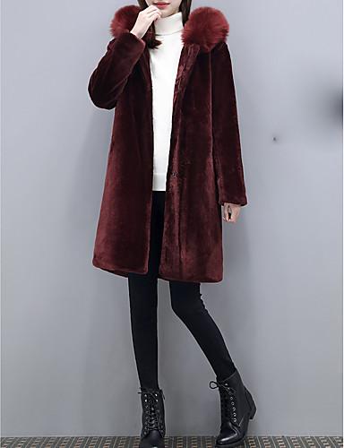 Damen-Solide Retro Übergrössen Pelzmantel Lose Wolle