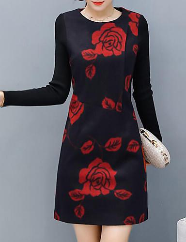 Damen Hülle Kleid-Lässig/Alltäglich Übergröße Einfach Blumen Rundhalsausschnitt Übers Knie Langarm Acryl Mittlere Hüfthöhe Unelastisch