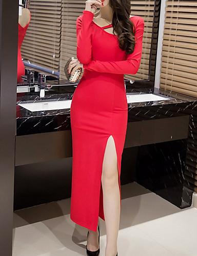 Damen Bodycon Hülle Kleid-Party Alltag Solide Rundhalsausschnitt Maxi Langärmelige Kunstseide Frühling Herbst Mittlere Taillenlinie