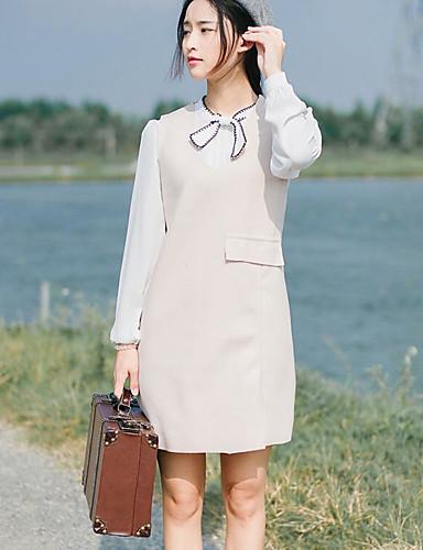 Damen Etuikleid Kleid-Lässig/Alltäglich Solide V-Ausschnitt Übers Knie Ärmellos Andere Mittlere Hüfthöhe Mikro-elastisch Mittel
