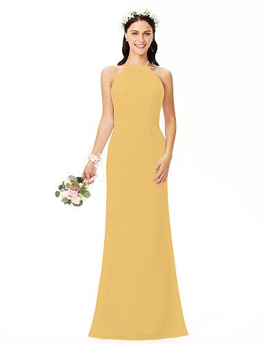 cheap Bridesmaid Dresses-Sheath / Column Jewel Neck Floor Length Chiffon Bridesmaid Dress with Pleats by LAN TING BRIDE®