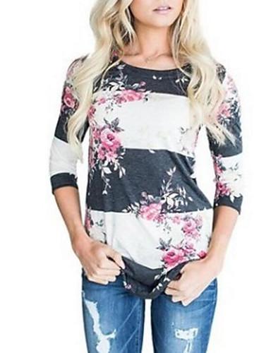 Damen Blumen Street Schick Alltag Festtage T-shirt,Rundhalsausschnitt 3/4 Ärmel Polyester