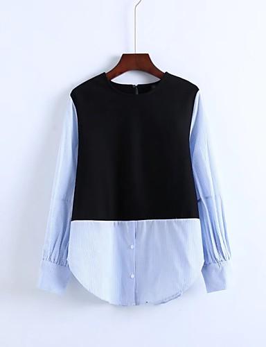 Damen Einfarbig Chinoiserie Ausgehen Lässig/Alltäglich Hemd,Rundhalsausschnitt 3/4 Ärmel Baumwolle Andere Dünn Mittel