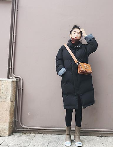 Damen Gefüttert Mantel Street Schick Alltag Solide-Baumwolle Polyester Langarm