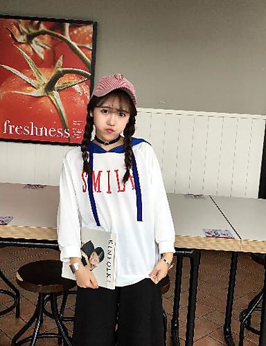 Damen Kapuzenshirt Lässig/Alltäglich Solide Einfarbig Buchstabe Baumwolle