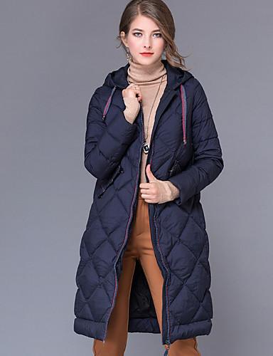Damen Daunenjacke Mantel,Lang Retro Ausgehen Solide-Polyester Langarm