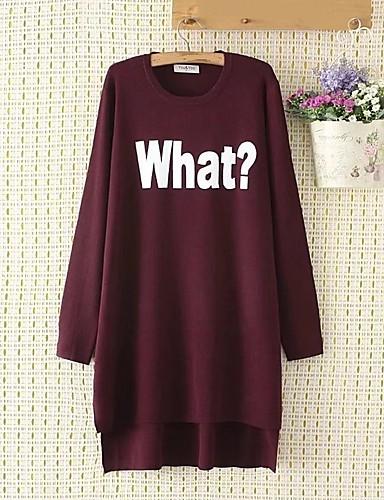 Damen Lang Pullover-Ausgehen Lässig/Alltäglich Solide Druck Rundhalsausschnitt Langarm Baumwolle Andere Dünn Mittel Mikro-elastisch